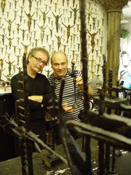 With Tony Rizzo. For thirteen years Wiel Essers designed and made awards for the Alternative Hair Show. Together with Tony Rizzo in the studio, looking at wax examples for the awards in 2008.